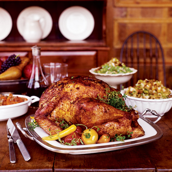 Paprika-Glazed Turkey with Pumpkin Seed Bread Salad
