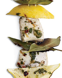 Mediterranean Kebab Party: Swordfish, Lemon and Bay Leaves