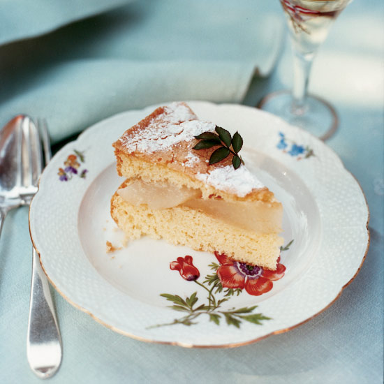 Almond Cake with Pears and Crème Anglaise