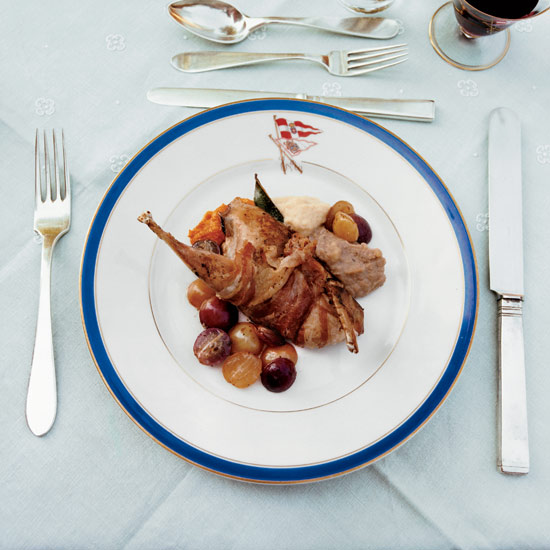 Roast Squab with Bacon and Grapes