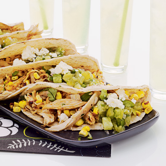 Pulled Chicken &amp; Grilled Corn Tacos