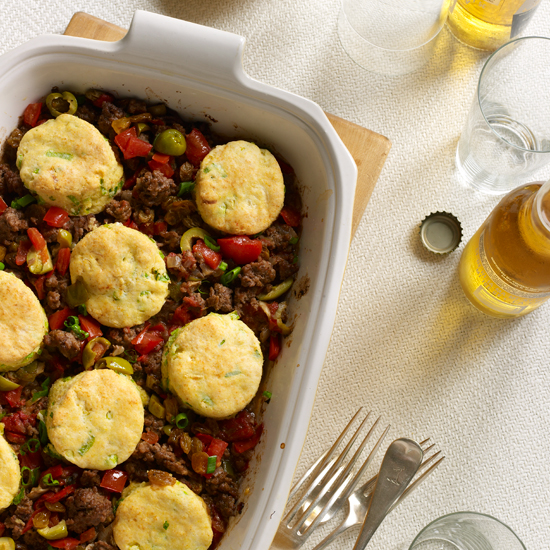 Cuban Beef Casserole with Corn-Scallion Biscuit Topping 