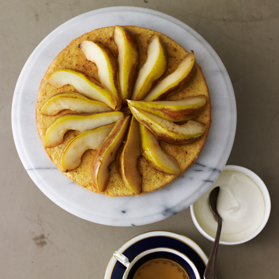 Hazelnut Tea Cake with Moscato Pears