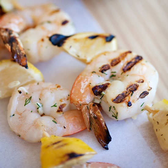 Shrimp and Lemon Skewers with Feta-Dill Sauce
