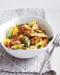 Turkey Fried Rice with Crushed Potato Chips Recipe