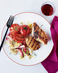 Tuscan Chicken with Grilled Fennel and Onions Recipe