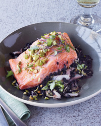 Arctic Char, Black Rice and Napa Cabbage En Papillote Recipe