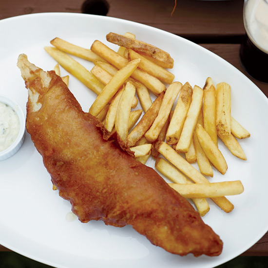 Fried Beer-Battered Fish and Chips with Dilled Tartar Sauce