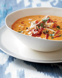 Creamy Piquillo Pepper and Chickpea  Soup with Chicken Recipe