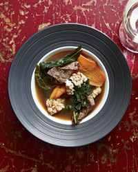 Pork-and-Kale Soup with Sizzling Puffed Rice