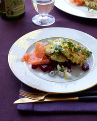 Potato-Quinoa Cakes with Smoked Salmon and Beets Recipe