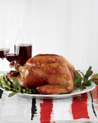 Roasted Beer-Brined Turkey with Onion Gravy and Bacon Recipe