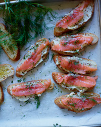 Smoked Salmon Toasts with Mustard Butter Recipe