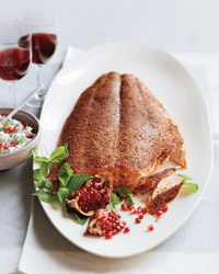Spice-Rubbed Salmon with Herb-and-Pomegranate Raita Recipe