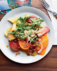 Tomato-and-Pineapple Salad with Garlic Chips Recipe