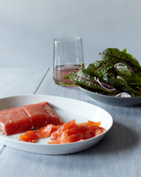 Mezcal-Cured Salmon with Sorrel Salad