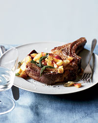 Sage-Rubbed Pork Chops with Pickled Peach Relish Recipe Recipe