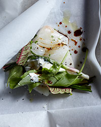 Spring Halibut Papillotes with Sorrel & Ramps