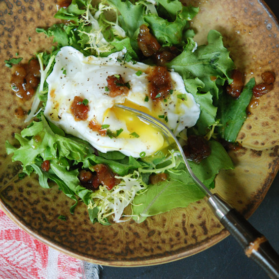 One-Eyed Salad with Winter Greens and Brown Sugar-Bacon Vinaigrette