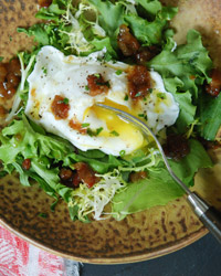 One-Eyed Salad with Winter Greens and Brown Sugar-Bacon Vinaigrette Recipe