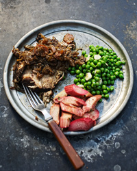 Braised Pork Shoulder with Rhubarb and Peas Recipe