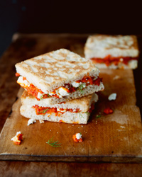 Melty Feta and Roasted Red Pepper Sandwiches Recipe