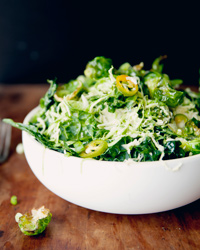Raw and Fried Tuscan Kale and Brussels Sprout Salad Recipe