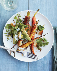 Roasted Carrot and Avocado Salad with Citrus Dressing.