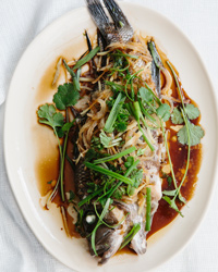 Steamed Bass with Onion, Ginger and Scallion Recipe