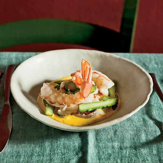 Ale-Poached Shrimp with Saffron Sauce