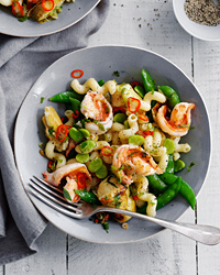 Cavatappi with Shrimp, Sugar Snaps and Artichokes