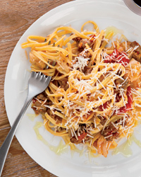 Fettuccine with Spicy Sausage and Cabbage Ribbons Recipe