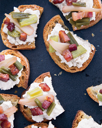 Ricotta Crostini with Pickled Ramps and Crisp Pancetta Recipe