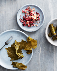 Grape Leaves with Quinoa, Shrimp and Beets Recipe