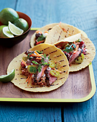 Marinated Skirt Steak Tacos with Pecan-Chipotle Salsa Recipe