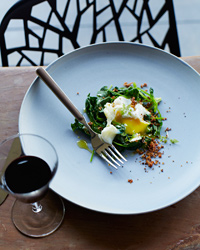 Poached Eggs with Bacon Crumbs and Spinach Recipe