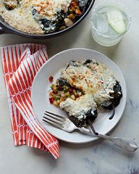 Vegetable Chiles Rellenos with Walnut Sauce and Cheese