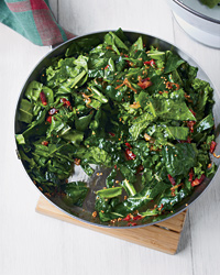 Sautéed Spring Greens with Bacon and Mustard Seeds
