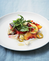 Caramelized Watermelon Salad with Pickled Jalapeños and Gorgonzola Recipe
