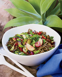 Soba Noodle Salad with Pesto and Grilled Eggplant Recipe