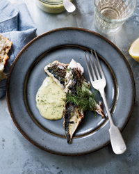 Rosemary-Grilled Mackerel with Mustard-Dill Mayonnaise