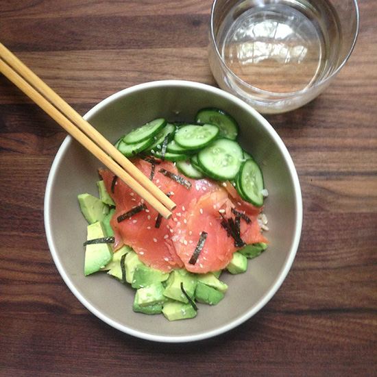 Smoked Salmon and Avocado Rice Bowl with Riesling