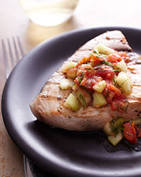 Grilled Swordfish With Cucumber-Melon Salsa Recipes — Dishmaps