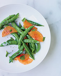 Sugar Snap Peas with Mint and Warm Coconut Dressing