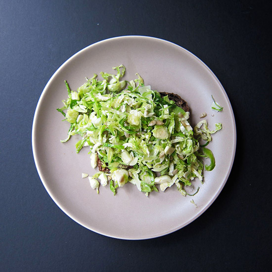 Avocado Toast with Brussels Sprouts, Pecorino and Sunflower Seeds