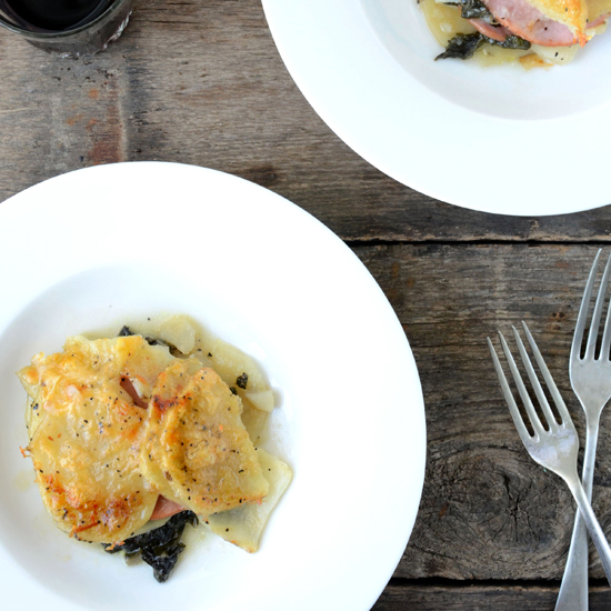 Canadian Bacon, Potato, and Swiss-Chard Gratin
