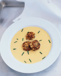 Reitzer's Sweet Corn Soup with Shiitake Crab Cakes