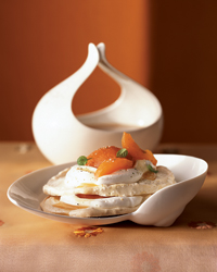 Apricot Pavlova with Chamomile Cream