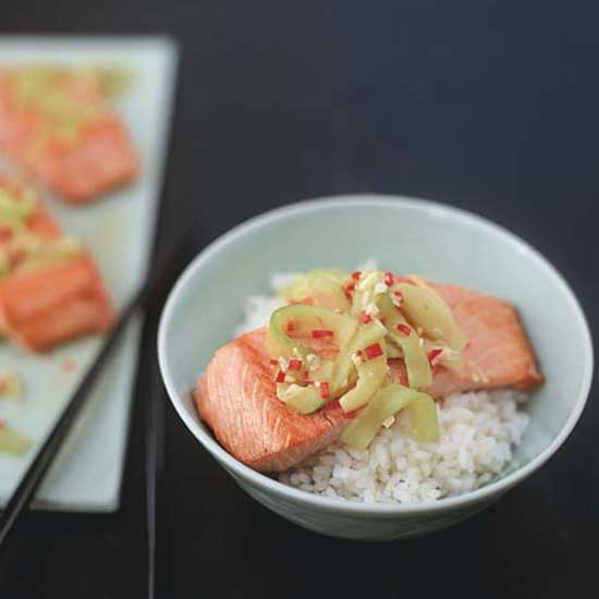 Salmon Rice Bowl with Ginger-Lime Sauce