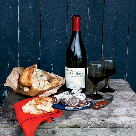 Bread, charcuterie and a great Burgundy